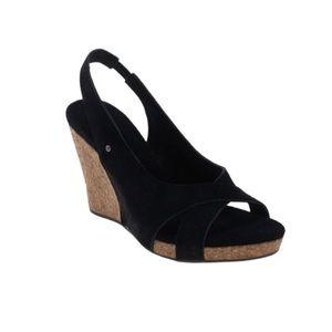UGG Hazel Black Wedge Sandals Size 9
